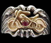 Motorcycle on Signet Ring - Sterling Silver and 10K Gold - Ruby