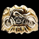 Motorcycle on Signet Ring - 10K Gold and 10K White Gold - Diamond