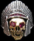 Large Indian and Skull Ring - Sterling Silver and 10K Gold - Ruby