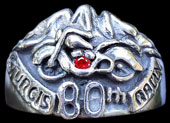 Large Sturgis 80th Anniversary Ring - Sterling Silver - Ruby