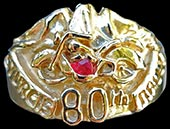 Large Sturgis 80th Anniversary Ring - 10K Gold - Ruby