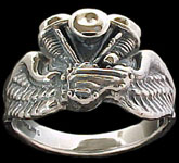 Pan Ring on wings - Sterling Silver