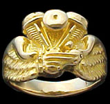 Pan Ring on wings - 10K Gold