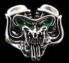 Heavy Pan head Ring with Horns and Exhausts - Sterling Silver