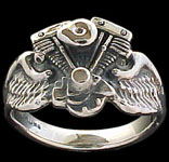 Shovel Ring on wings - Sterling Silver