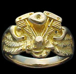 Shovel Ring on wings - 10K Gold