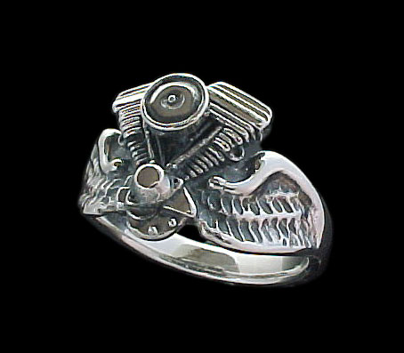 Evolution Ring on wings - Sterling Silver