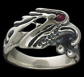 Medium Eagle Ring - Sterling Silver - Ruby