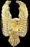 Large Attack Eagle Ring - 10K Gold - Diamond, Ruby