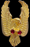 Large Attack Eagle Ring - 10K Gold - Ruby