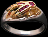 Medium Eagle on Signet Ring - Sterling Silver and 10K Gold - Ruby