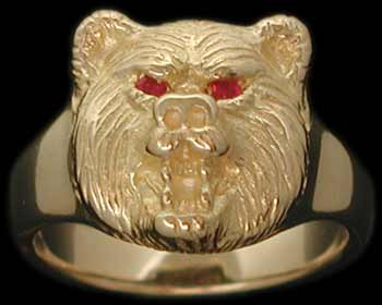 Small Bear Ring - 10K Gold - Ruby