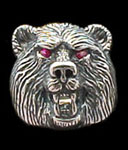Medium Bear Ring - Sterling Silver - Ruby
