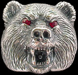 Large Bear Ring - Sterling Silver - Ruby