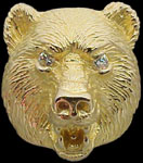 Large Bear Ring - 10K Gold - Diamond