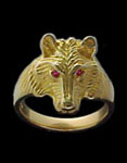 Small Wolf Ring - 10K Gold - Ruby