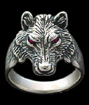 Medium Wolf Ring - Sterling Silver - Ruby