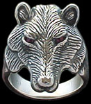 Large Wolf Ring - Sterling Silver - Ruby