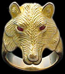 Large Wolf Ring - 10K Gold - Ruby