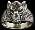 Medium Boar Ring - Sterling Silver