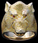 Large Boar Ring - 10K Gold - Ruby