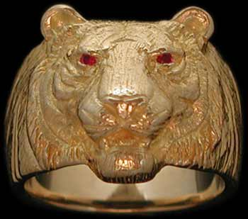 Medium Tiger Ring - 10K Gold - Ruby