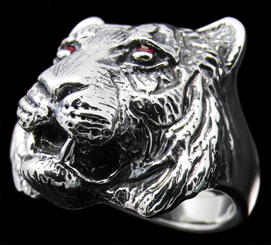 Large Tiger Ring - Sterling Silver - Ruby