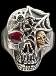 Ex. Large Skull Ring with spider and web - Sterling Silver and 10K Gold - Ruby, Emerald