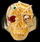 Ex. Large Skull Ring with spider and web - 10K Gold and 10K White Gold - Ruby, Emerald