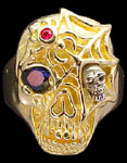 Ex. Large Skull Ring with spider and web - 10K Gold and 10K White Gold - Sapphire, Ruby