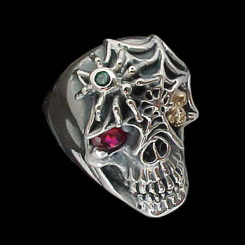 Ex. Ex. Large Skull Ring with spider and web - Sterling Silver and 10K Gold - Ruby, Emerald