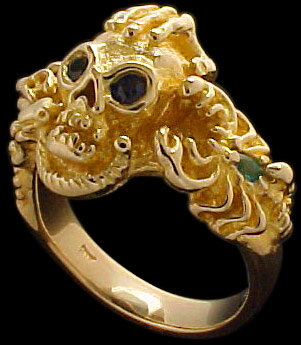 Large Skull Ring with hand, dragon and serpent - 10K Gold - Sapphire, Ruby, Emerald