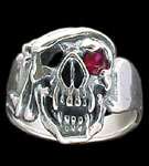 Large Skull Ring with bandana - Sterling Silver - Ruby