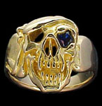 Large Skull Ring with bandana - 10K Gold - Sapphire