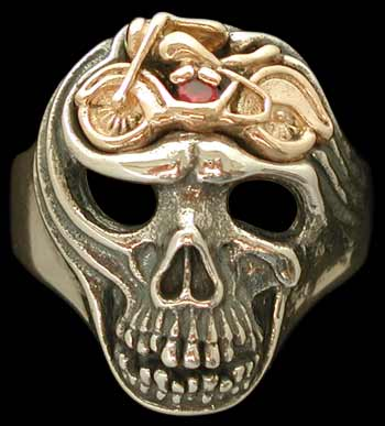 Large Skull ring with motorcycle - Sterling Silver and 10K Gold - Ruby
