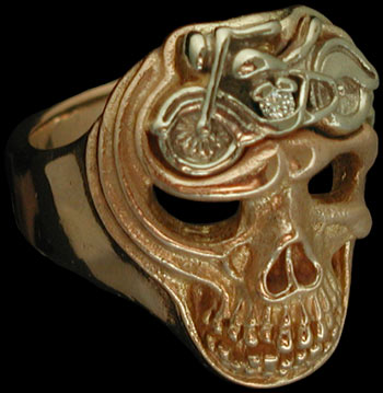 Large Skull ring with motorcycle - 10K Gold and 10K White Gold - Diamond