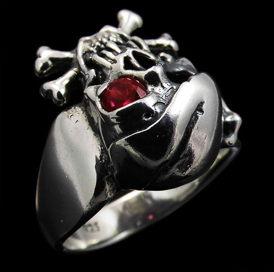 Large Pirate Skull with Bandana and Bones Ring - Sterling Silver - Ruby