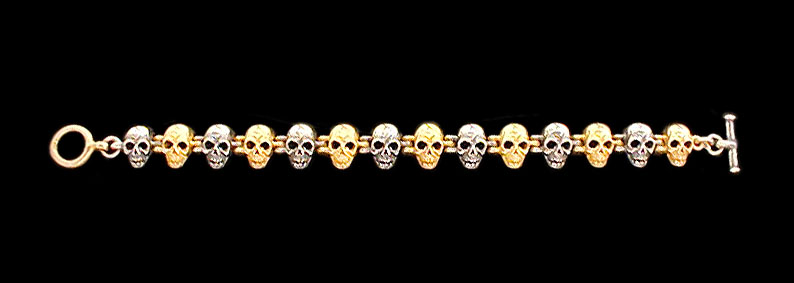 Medium Skull Link Bracelet - 10K Gold and Sterling Silver
