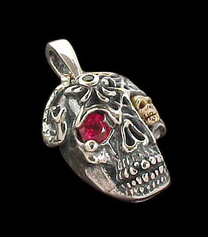 Ex. Large Skull Pendant with serpent, spider and web - Sterling Silver and 10K Gold - Ruby, Emerald