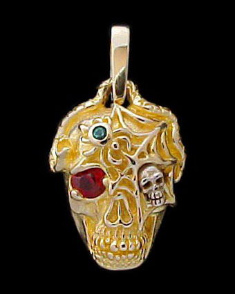 Ex. Large Skull Pendant with serpent, spider and web - 10K Gold and 10K White Gold - Ruby, Emerald