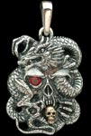 Skull and Dragon Pendant - Sterling Silver and 10K Gold - Ruby